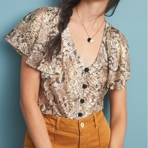 Eva Franco Willow Snake Print Blouse Size XS NWT